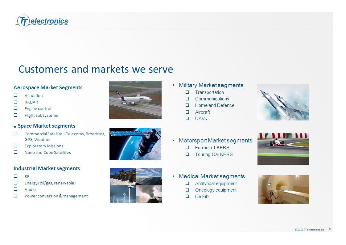 ©2012 TT electronics plc 4 Aerospace Market Segments  Actuation  RADAR  Engine control  Flight subsystems. Space Market segments  Commercial Sate