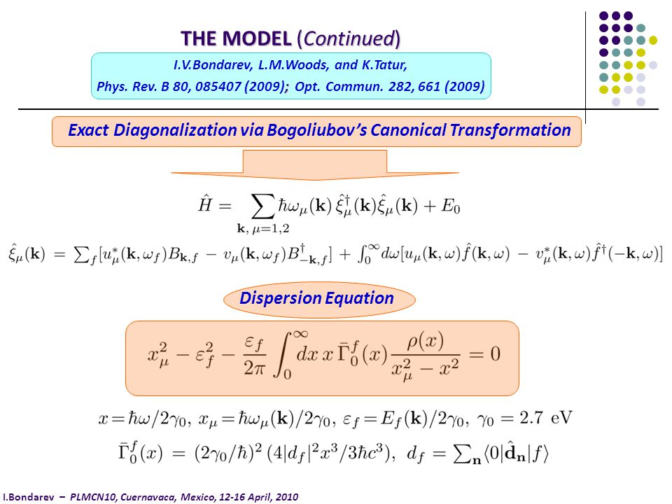 Exact Diagonalization via Bogoliubov's Canonical Transformation Dispersion Equation THE MODEL (Continued) I.V.Bondarev, L.M.Woods, and K.Tatur, ; Phys.