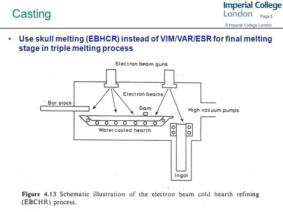 © Imperial College London Page 5 Casting Use skull melting (EBHCR) instead of VIM/VAR/ESR for final melting stage in triple melting process