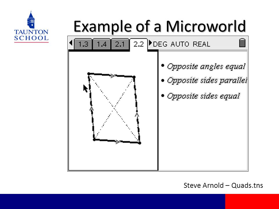 Example of a Microworld Steve Arnold – Quads.tns