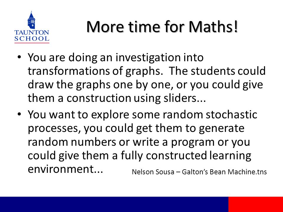 More time for Maths! You are doing an investigation into transformations of graphs. The students could draw the graphs one by one, or you could give t
