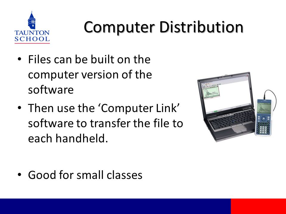 Computer Distribution Files can be built on the computer version of the software Then use the 'Computer Link' software to transfer the file to each handheld.