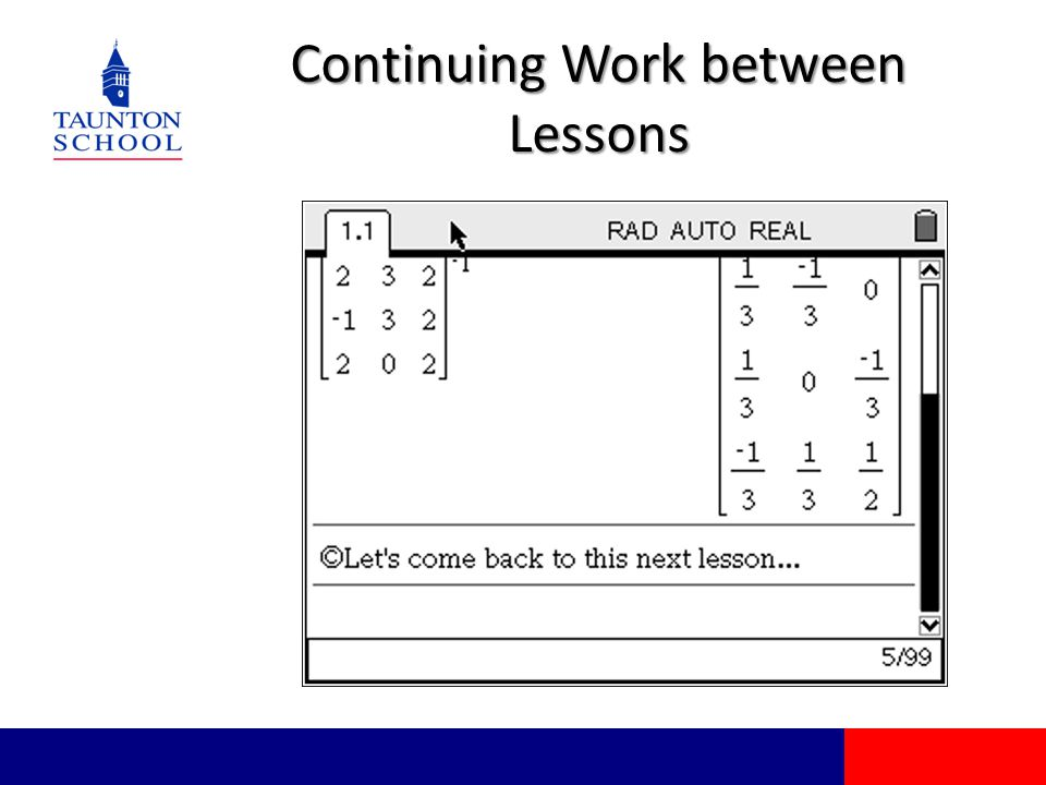 Continuing Work between Lessons