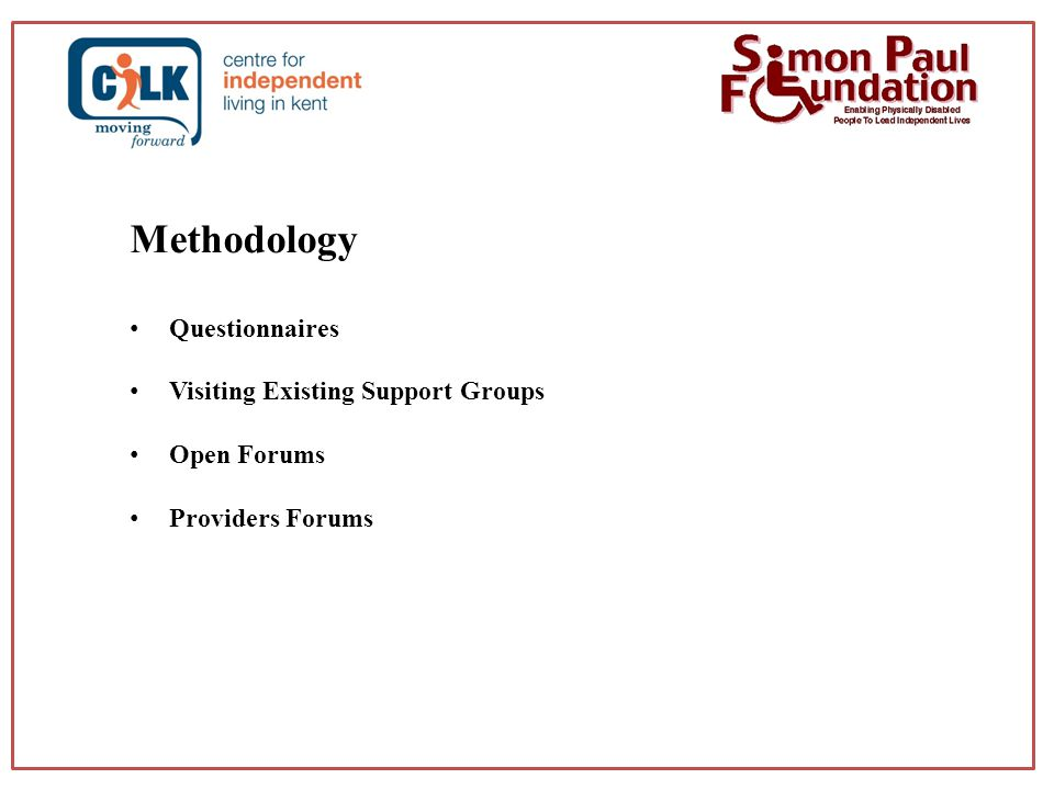 Methodology Questionnaires Visiting Existing Support Groups Open Forums Providers Forums