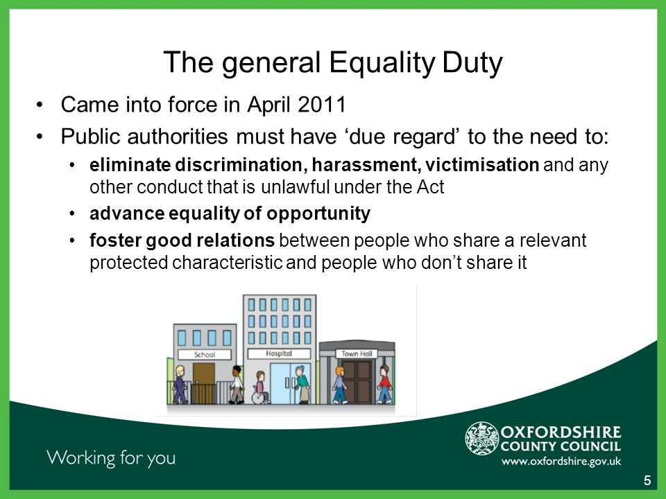 The general Equality Duty Came into force in April 2011 Public authorities must have 'due regard' to the need to: eliminate discrimination, harassment, victimisation and any other conduct that is unlawful under the Act advance equality of opportunity foster good relations between people who share a relevant protected characteristic and people who don't share it 5