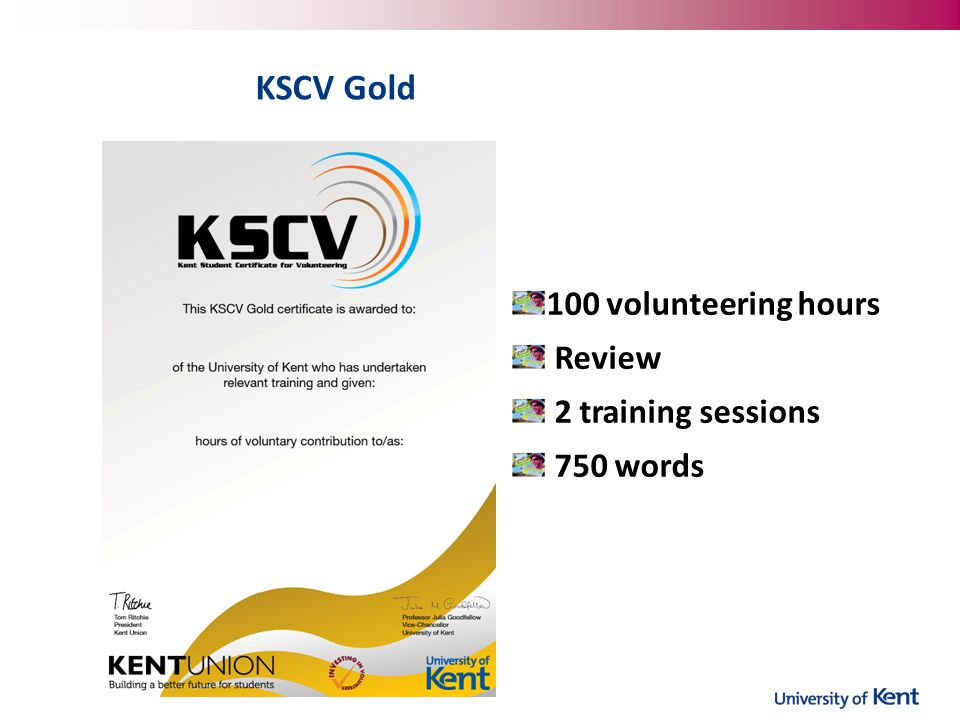 KSCV Gold 100 volunteering hours Review 2 training sessions 750 words