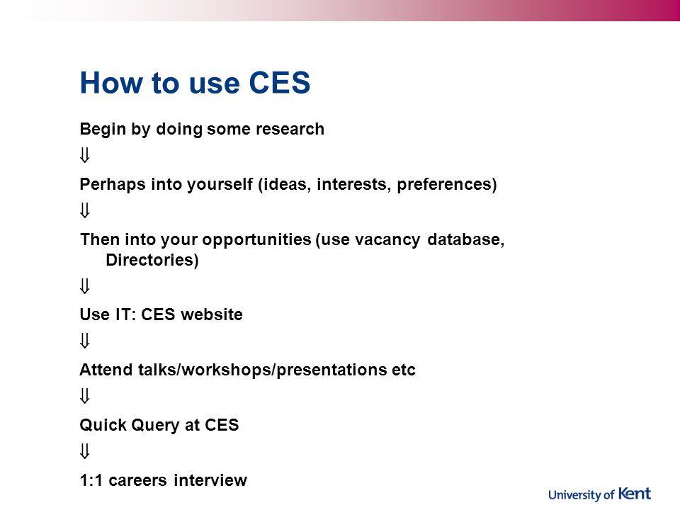 How to use CES Begin by doing some research  Perhaps into yourself (ideas, interests, preferences)  Then into your opportunities (use vacancy database, Directories)  Use IT: CES website  Attend talks/workshops/presentations etc  Quick Query at CES  1:1 careers interview