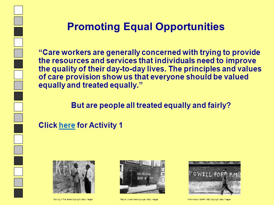 "Intro to PEO Promoting Equal Opportunities ""Care workers are generally concerned with trying to provide the resources and services that individuals ne"