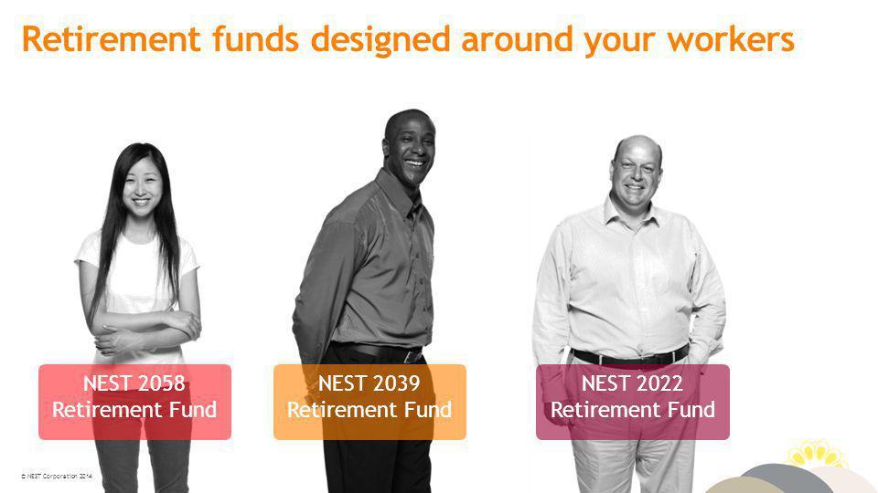 © NEST Corporation 2014 Retirement funds designed around your workers NEST 2058 Retirement Fund NEST 2039 Retirement Fund NEST 2022 Retirement Fund