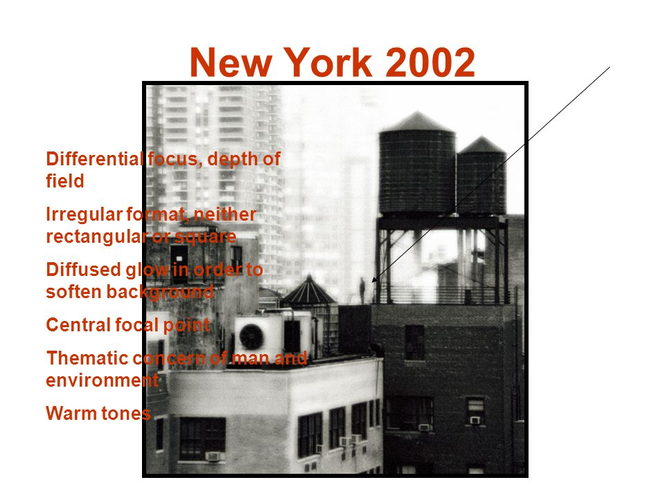 New York 2002 Differential focus, depth of field Irregular format, neither rectangular or square Diffused glow in order to soften background Central focal point Thematic concern of man and environment Warm tones