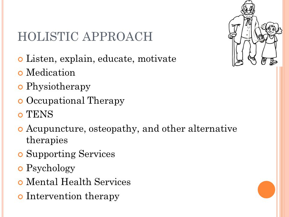 HOLISTIC APPROACH Listen, explain, educate, motivate Medication Physiotherapy Occupational Therapy TENS Acupuncture, osteopathy, and other alternative