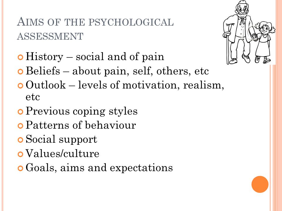 A IMS OF THE PSYCHOLOGICAL ASSESSMENT History – social and of pain Beliefs – about pain, self, others, etc Outlook – levels of motivation, realism, et