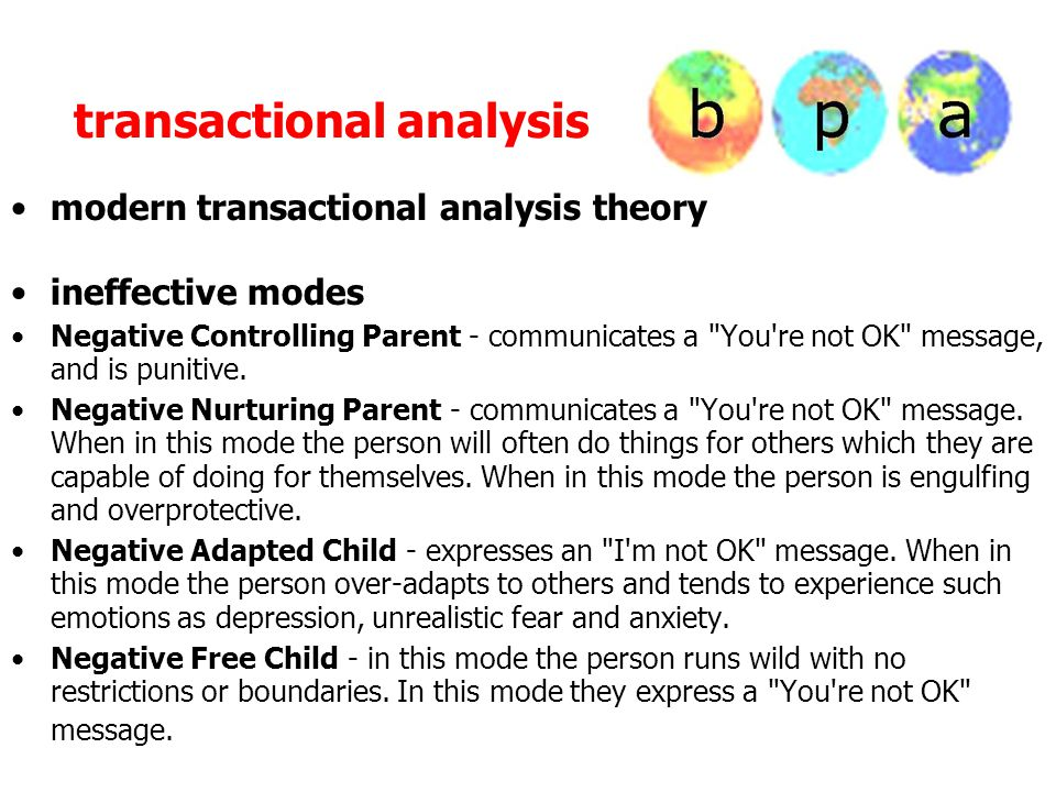 transactional analysis modern transactional analysis theory ineffective modes Negative Controlling Parent - communicates a You re not OK message, and is punitive.