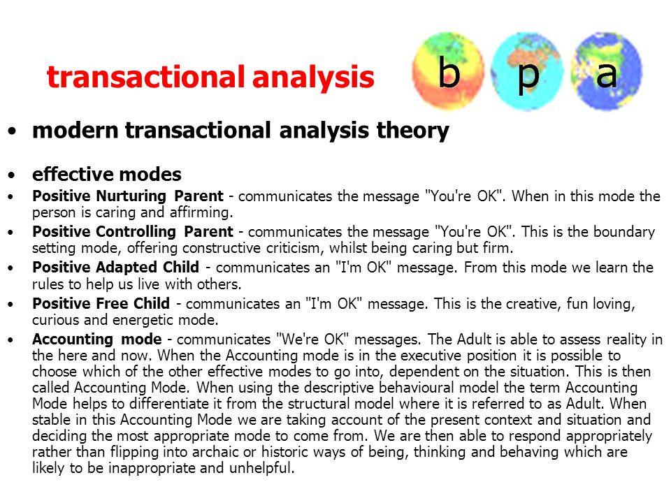 transactional analysis modern transactional analysis theory effective modes Positive Nurturing Parent - communicates the message You re OK .