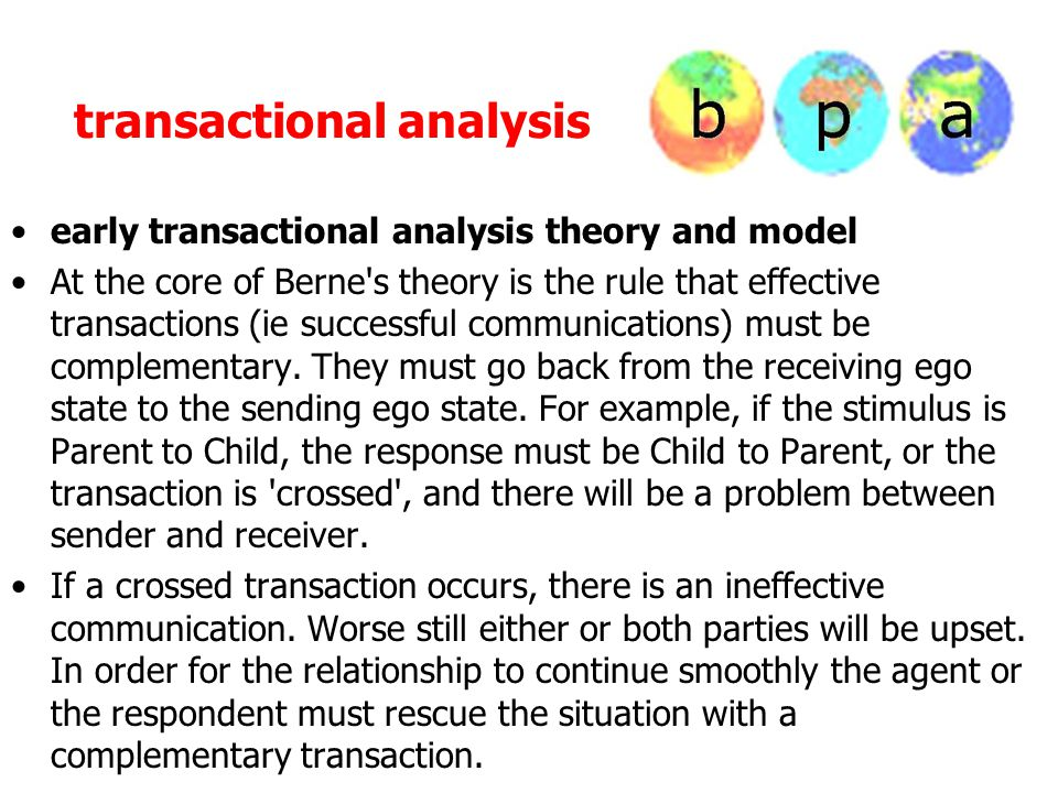 transactional analysis early transactional analysis theory and model At the core of Berne's theory is the rule that effective transactions (ie success