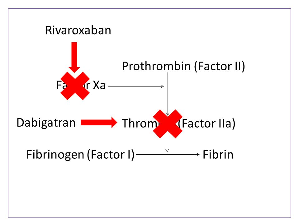 Prothrombin (Factor II) Factor Xa Thrombin (Factor IIa) Fibrinogen (Factor I)Fibrin Rivaroxaban Dabigatran
