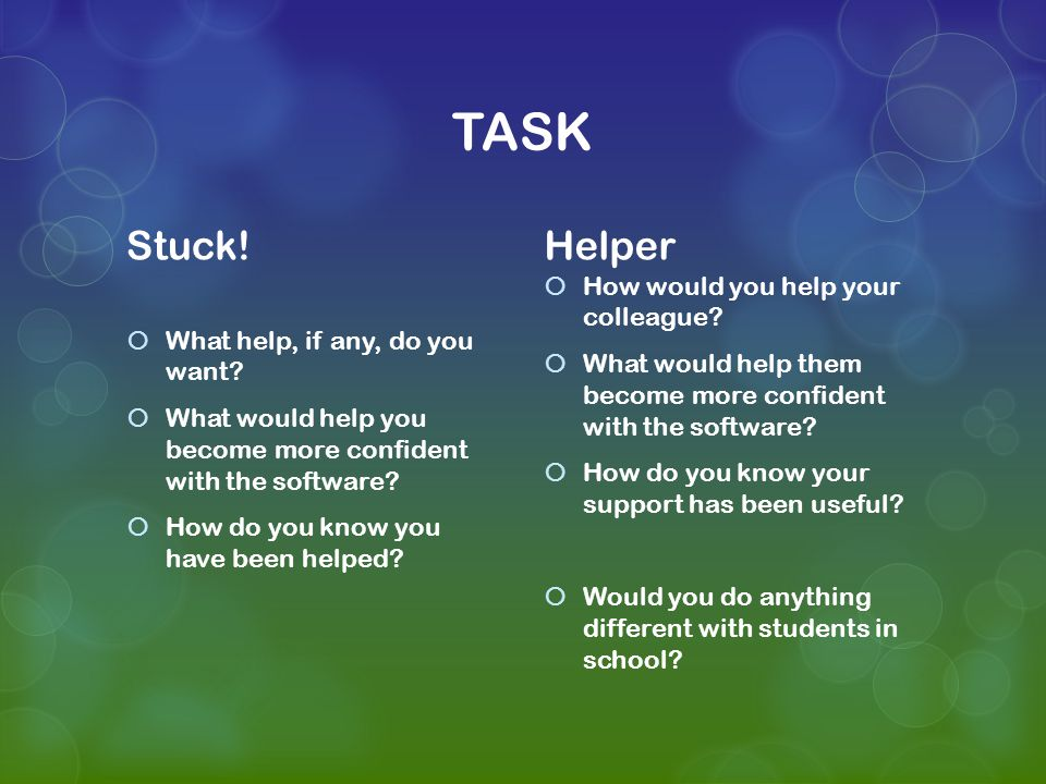 TASK Stuck.  What help, if any, do you want.