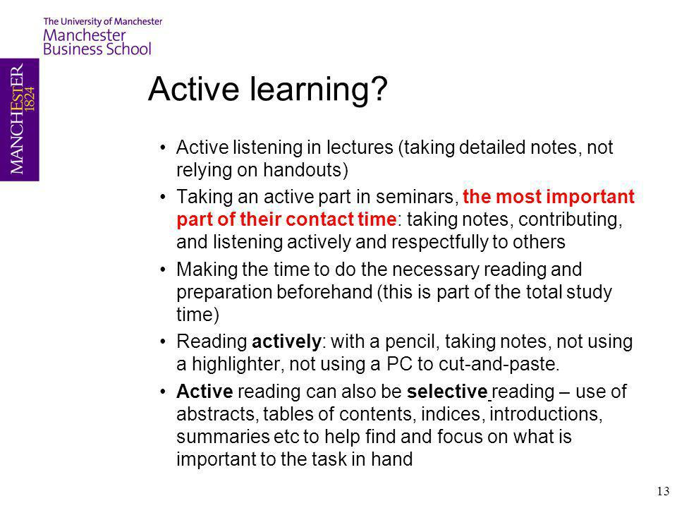 Active learning.