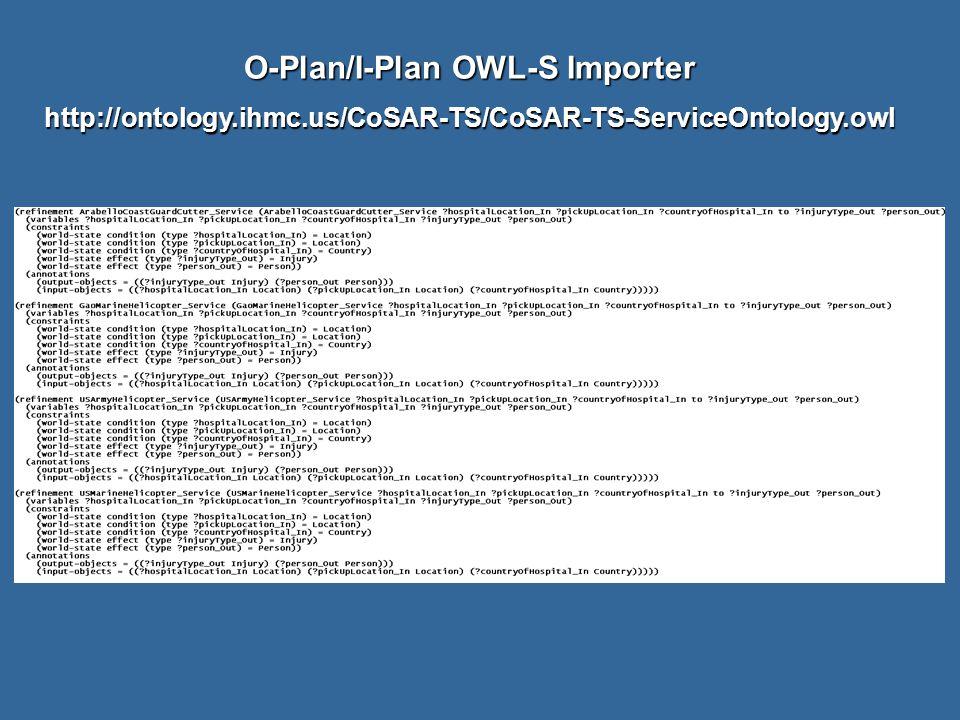 O-Plan/I-Plan OWL-S Importer http://ontology.ihmc.us/CoSAR-TS/CoSAR-TS-ServiceOntology.owl