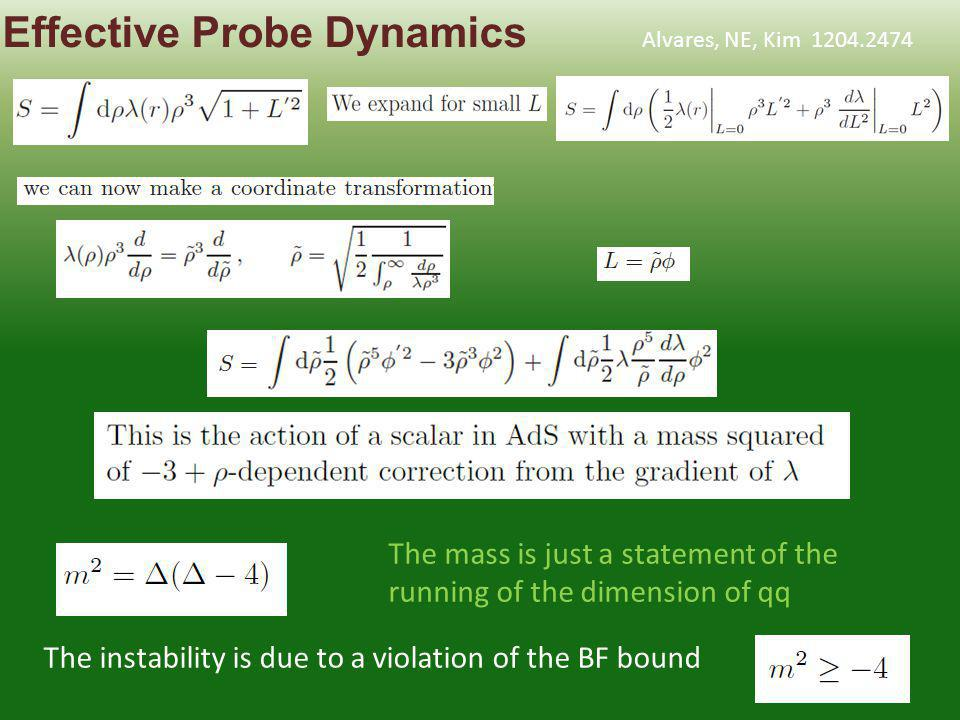 The mass is just a statement of the running of the dimension of qq The instability is due to a violation of the BF bound Effective Probe Dynamics Alvares, NE, Kim 1204.2474