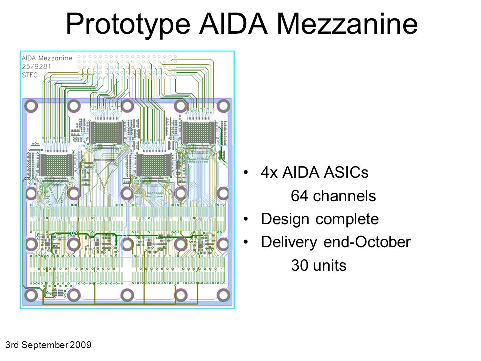 Prototype AIDA Mezzanine 3rd September x AIDA ASICs 64 channels Design complete Delivery end-October 30 units
