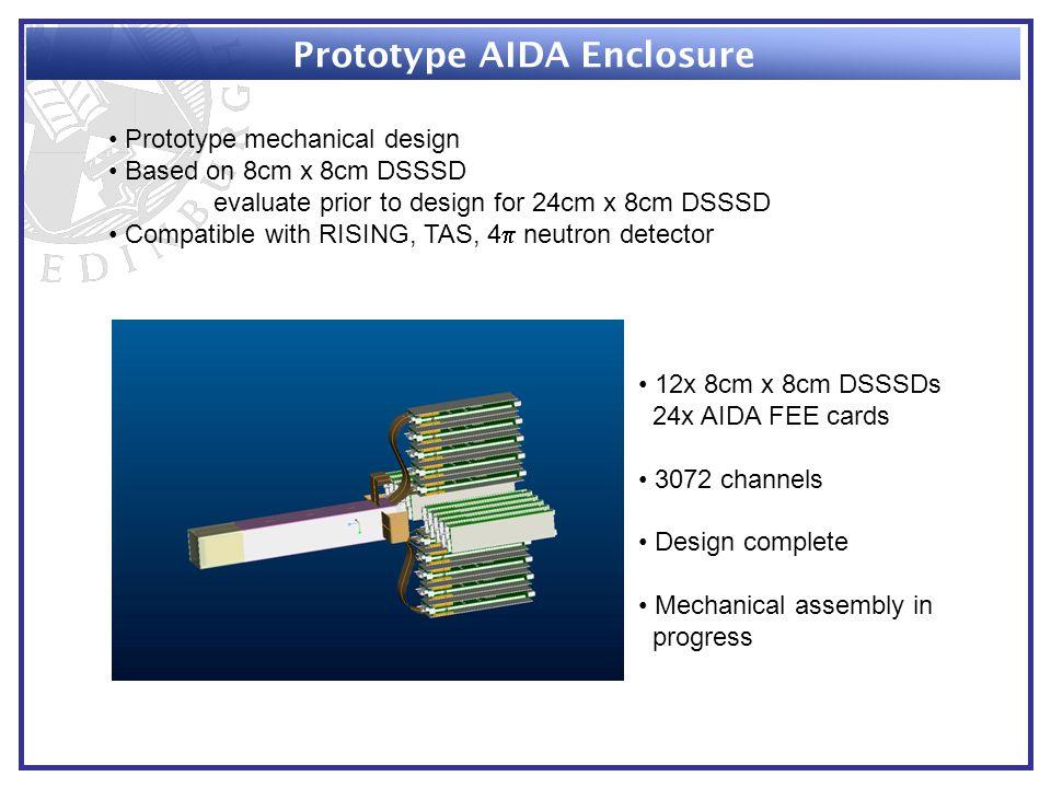 Prototype AIDA Enclosure Prototype mechanical design Based on 8cm x 8cm DSSSD evaluate prior to design for 24cm x 8cm DSSSD Compatible with RISING, TAS, 4  neutron detector 12x 8cm x 8cm DSSSDs 24x AIDA FEE cards 3072 channels Design complete Mechanical assembly in progress