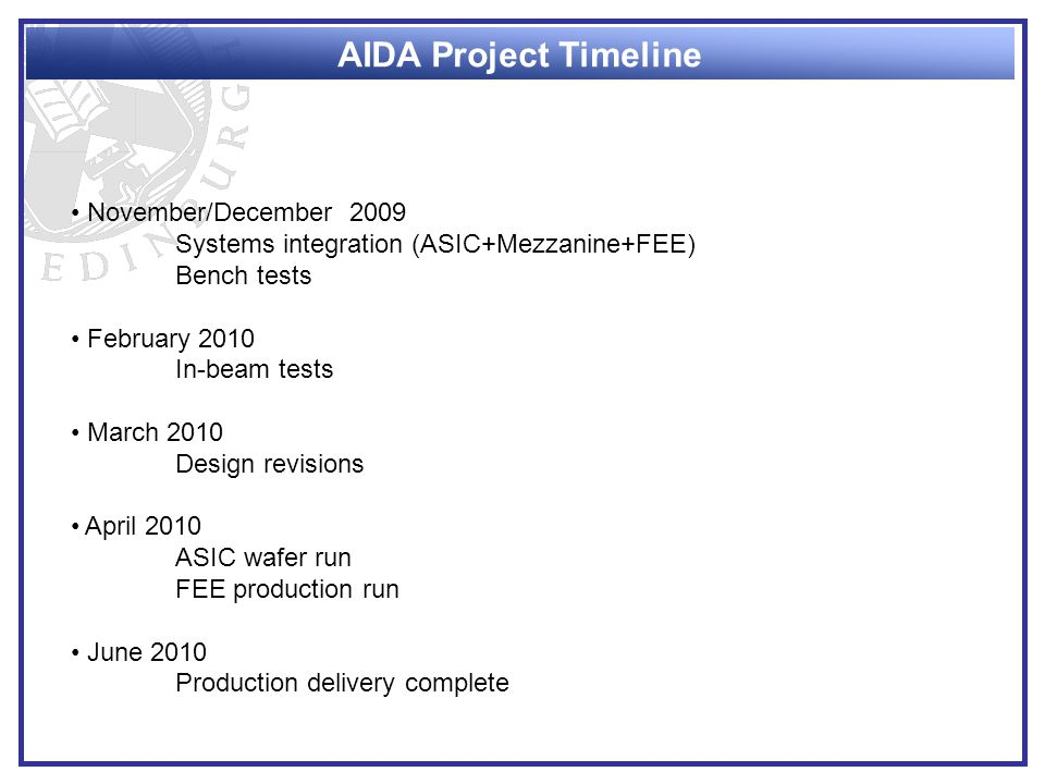 AIDA Project Timeline November/December 2009 Systems integration (ASIC+Mezzanine+FEE) Bench tests February 2010 In-beam tests March 2010 Design revisions April 2010 ASIC wafer run FEE production run June 2010 Production delivery complete