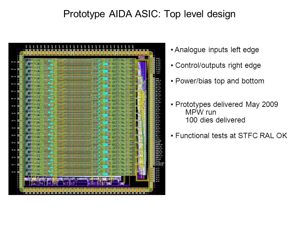 Prototype AIDA ASIC: Top level design Analogue inputs left edge Control/outputs right edge Power/bias top and bottom Prototypes delivered May 2009 MPW run 100 dies delivered Functional tests at STFC RAL OK