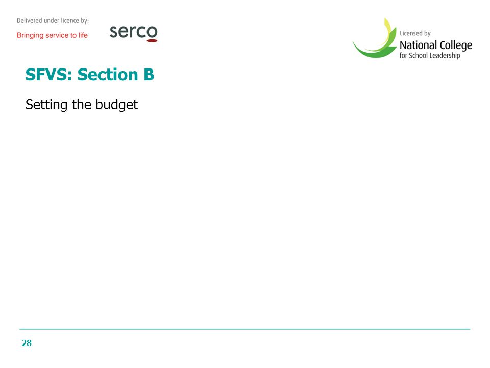 28 SFVS: Section B Setting the budget