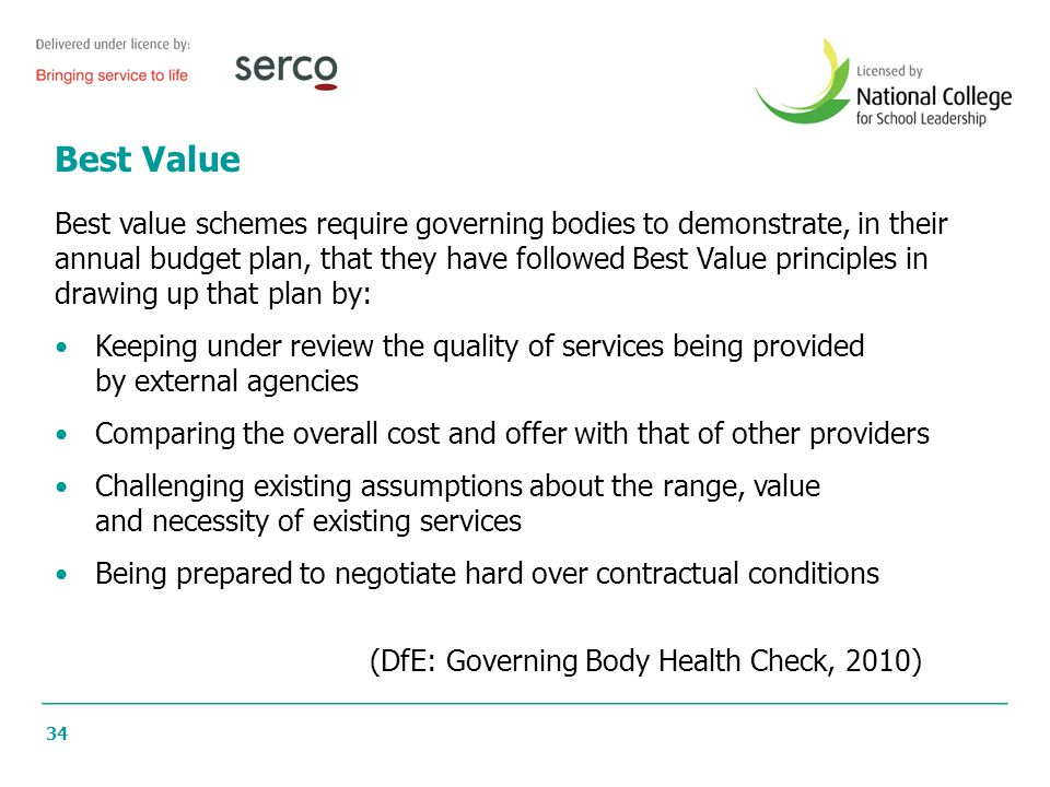 34 Best Value Best value schemes require governing bodies to demonstrate, in their annual budget plan, that they have followed Best Value principles i