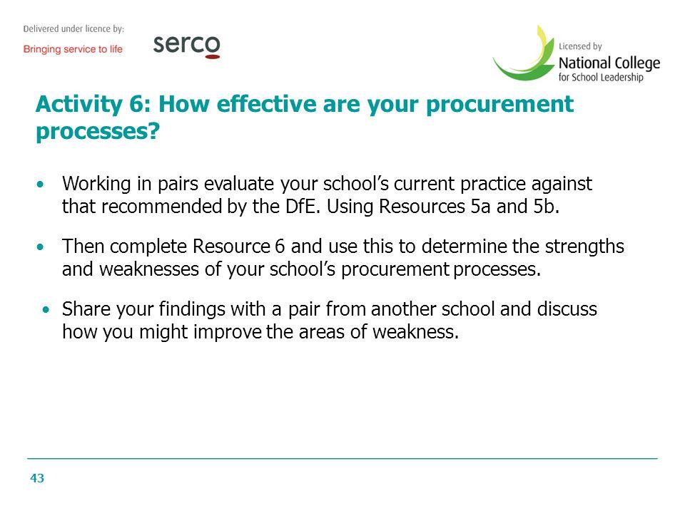 43 Activity 6: How effective are your procurement processes.