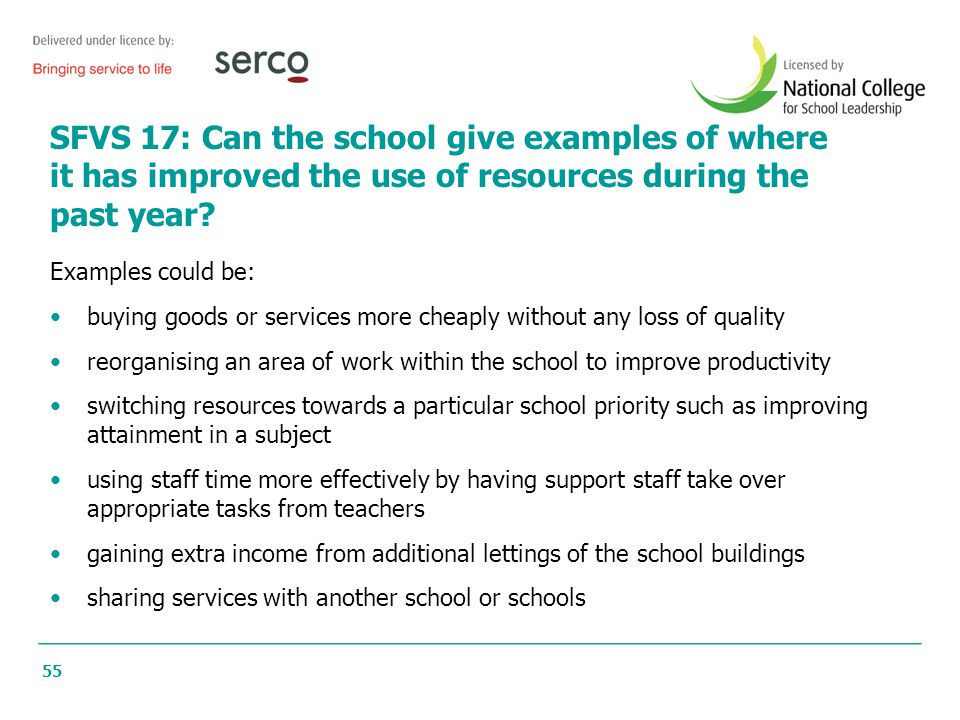 55 SFVS 17: Can the school give examples of where it has improved the use of resources during the past year? Examples could be: buying goods or servic