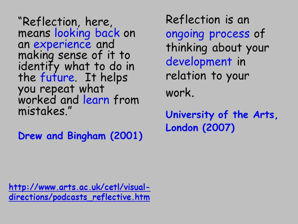 Reflection, here, means looking back on an experience and making sense of it to identify what to do in the future.