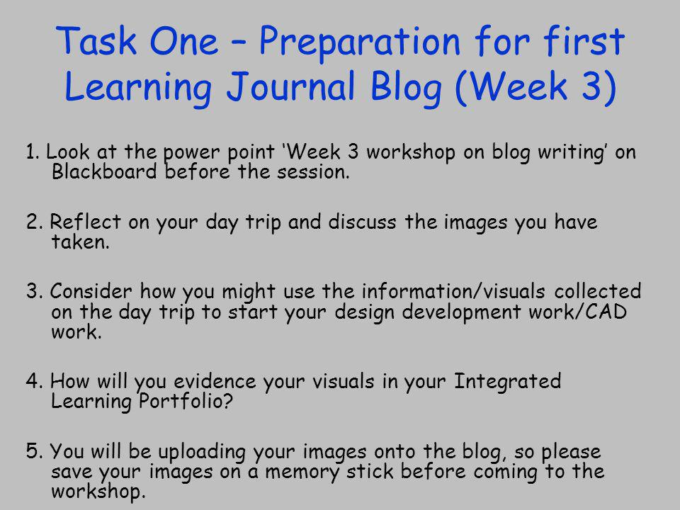 Task One – Preparation for first Learning Journal Blog (Week 3) 1.