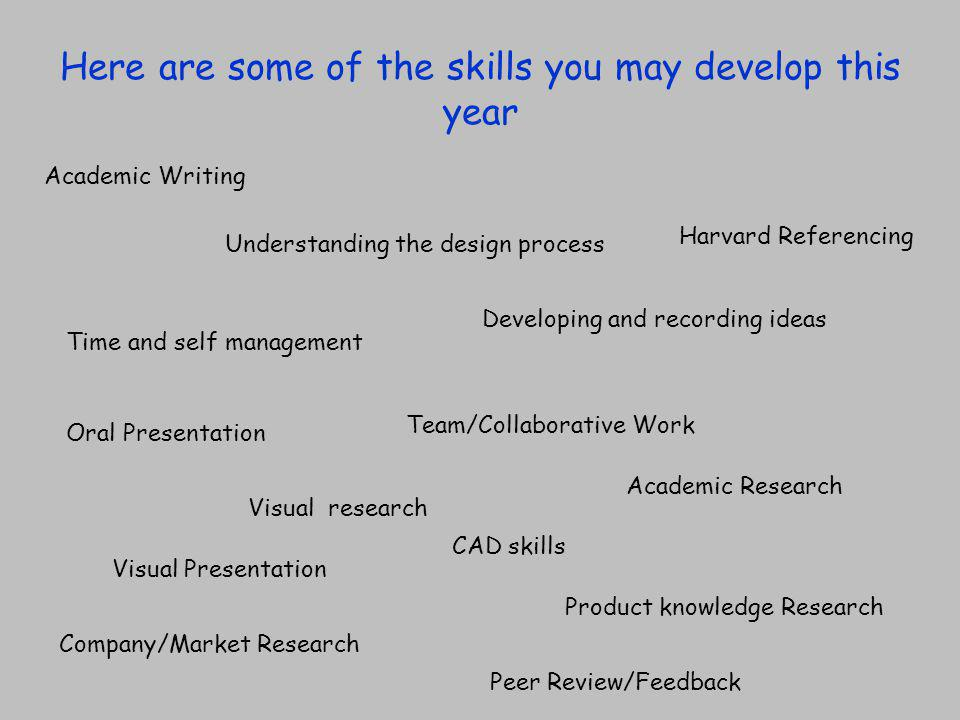 What you have to do is keep a record of these skills when you come across them, and more importantly, start to think about how you are using them.