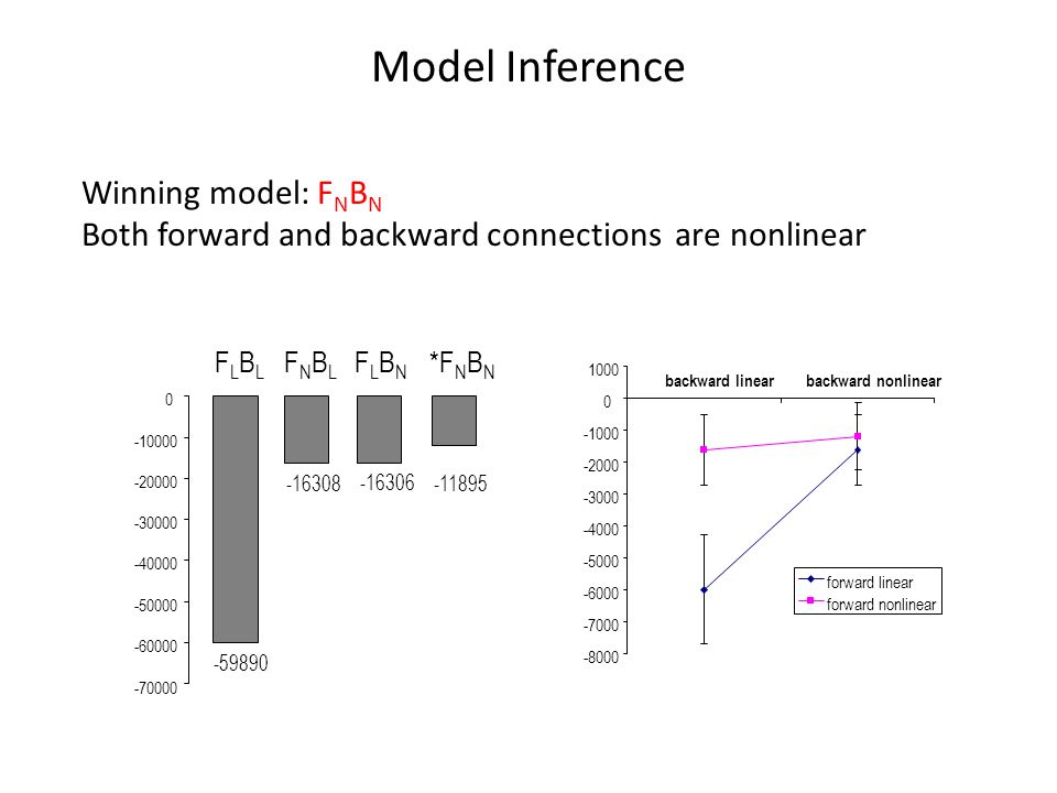 FLBLFLBL FNBLFNBL FLBNFLBN *F N B N backward linearbackward nonlinear forward linear forward nonlinear Model Inference Winning model: F N B N Both forward and backward connections are nonlinear