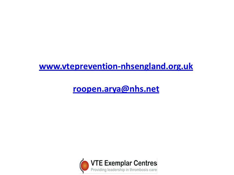 www.vteprevention-nhsengland.org.uk roopen.arya@nhs.net