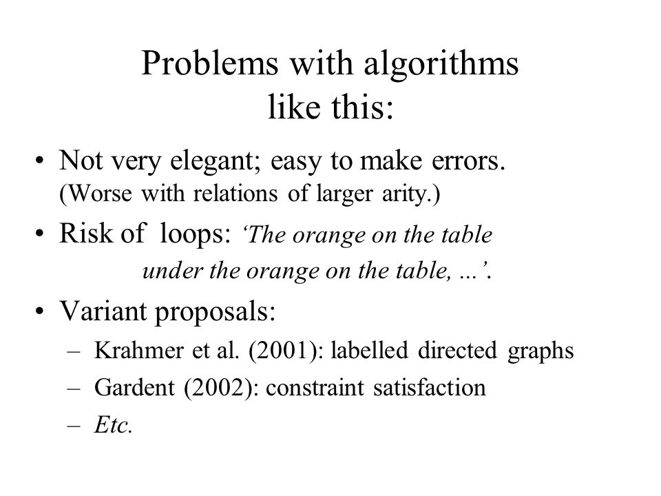 Problems with algorithms like this: Not very elegant; easy to make errors. (Worse with relations of larger arity.) Risk of loops: 'The orange on the t
