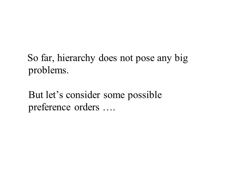 So far, hierarchy does not pose any big problems. But let's consider some possible preference orders ….