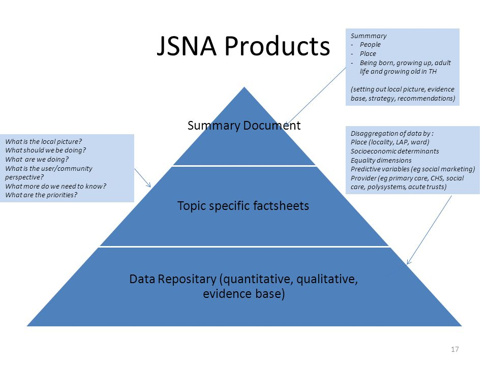 JSNA Products Summary Document Topic specific factsheets Data Repositary (quantitative, qualitative, evidence base) What is the local picture? What sh