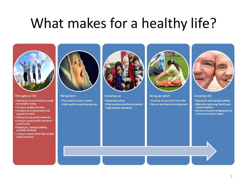 What makes for a healthy life? Throughout life Having an income that is enough for healthy living Living in quality housing Living in an environment t