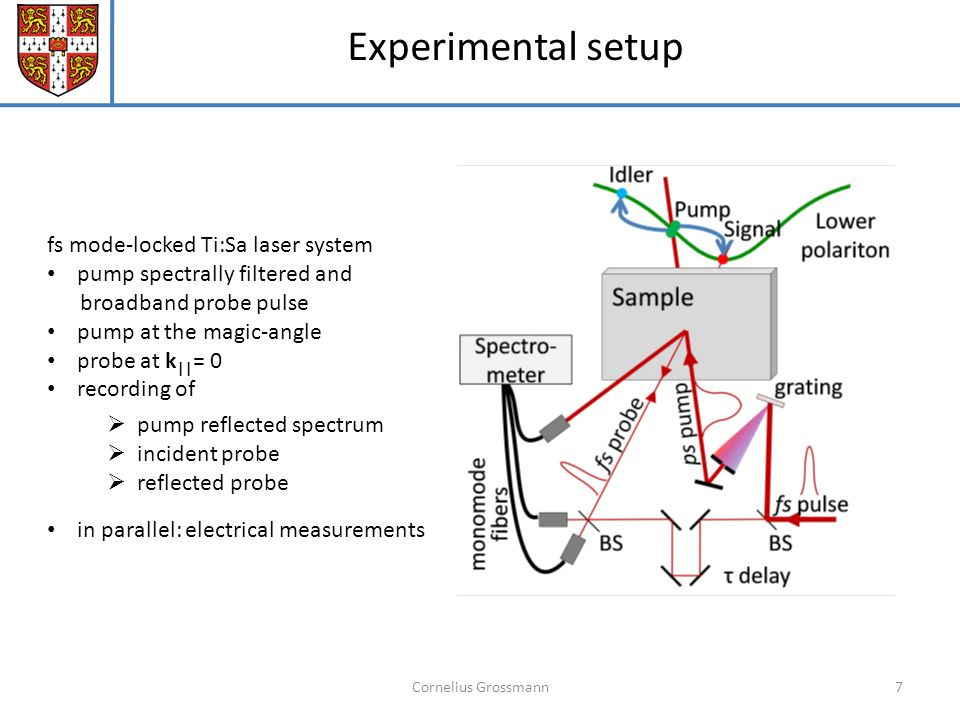 Cornelius Grossmann7 Experimental setup fs mode-locked Ti:Sa laser system pump spectrally filtered and broadband probe pulse pump at the magic-angle probe at k || = 0 recording of  pump reflected spectrum  incident probe  reflected probe in parallel: electrical measurements