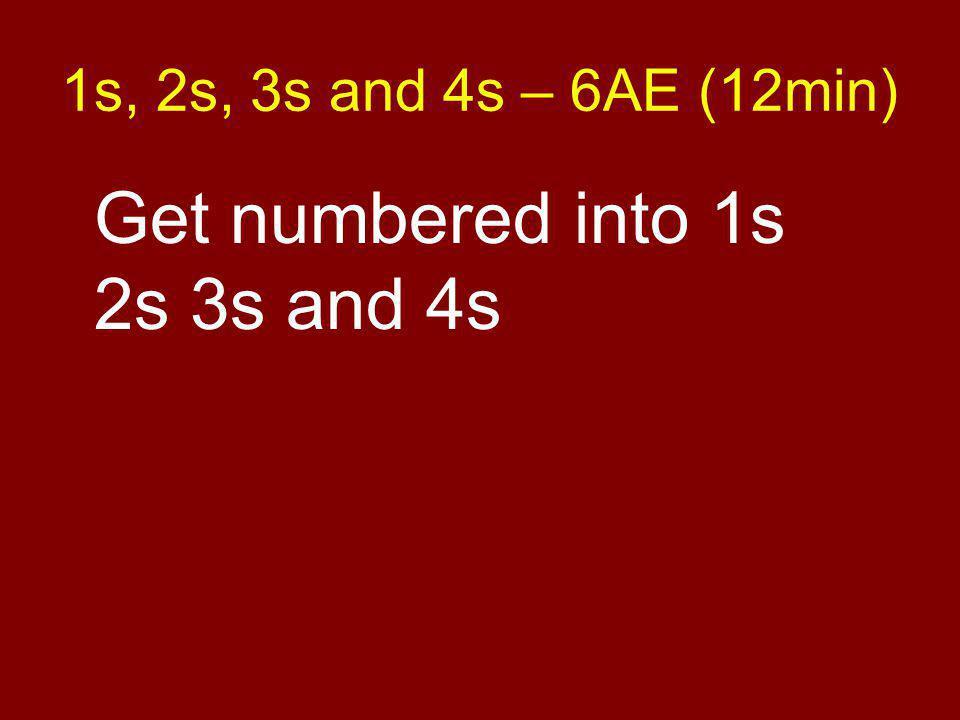1s, 2s, 3s and 4s – 6AE (12min) Get numbered into 1s 2s 3s and 4s