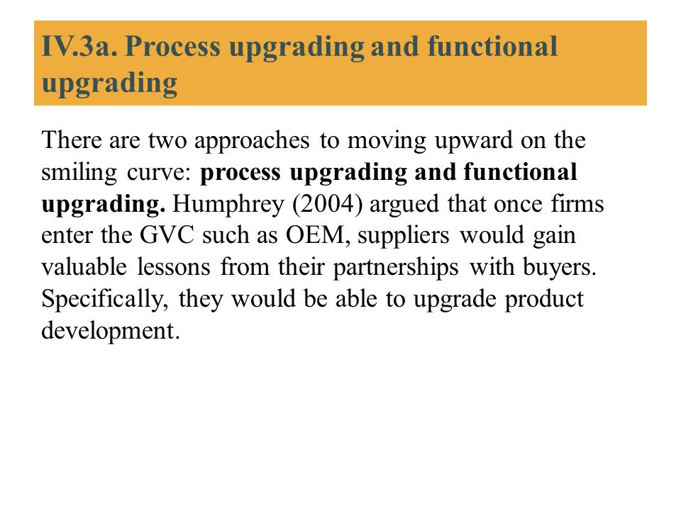IV.3a. Process upgrading and functional upgrading There are two approaches to moving upward on the smiling curve: process upgrading and functional upg