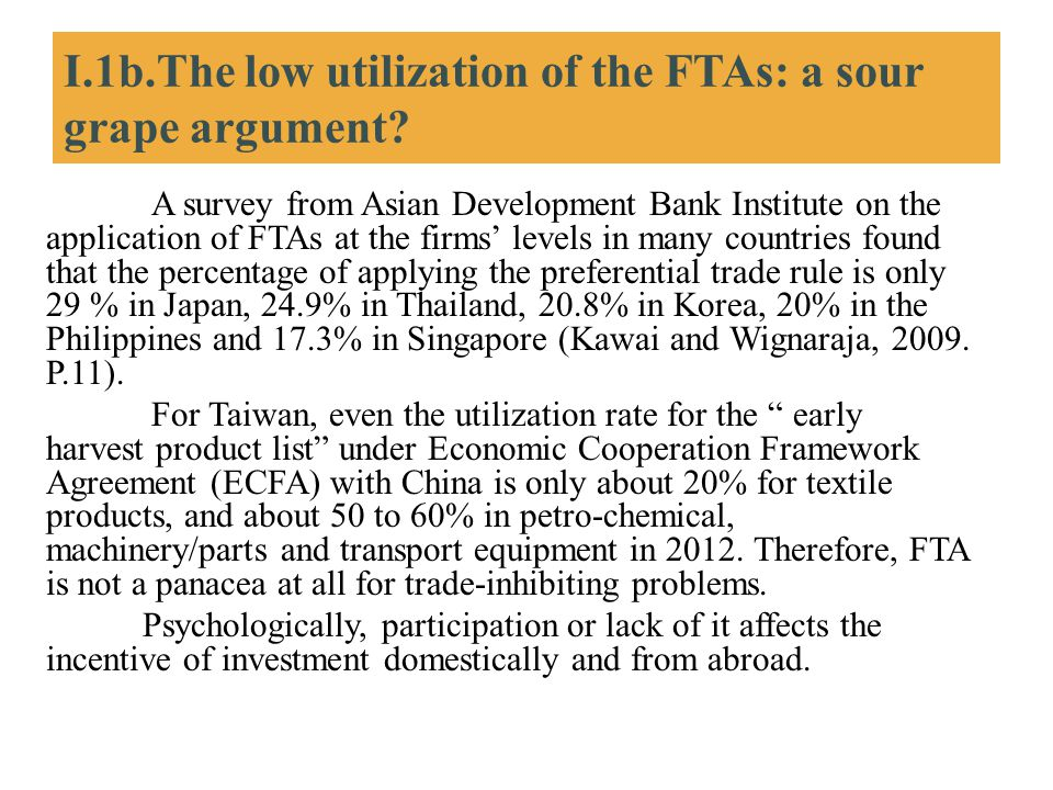 I.1b.The low utilization of the FTAs: a sour grape argument? A survey from Asian Development Bank Institute on the application of FTAs at the firms' l