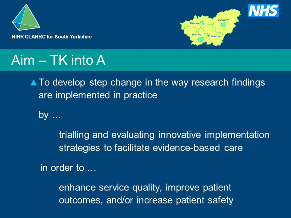 Barnsley Doncaster Rotherham Sheffield  To develop step change in the way research findings are implemented in practice by … trialling and evaluating innovative implementation strategies to facilitate evidence-based care in order to … enhance service quality, improve patient outcomes, and/or increase patient safety Aim – TK into A