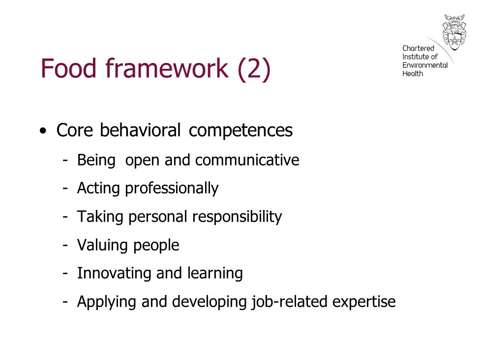Food framework (2) Core behavioral competences -Being open and communicative -Acting professionally -Taking personal responsibility -Valuing people -Innovating and learning -Applying and developing job-related expertise