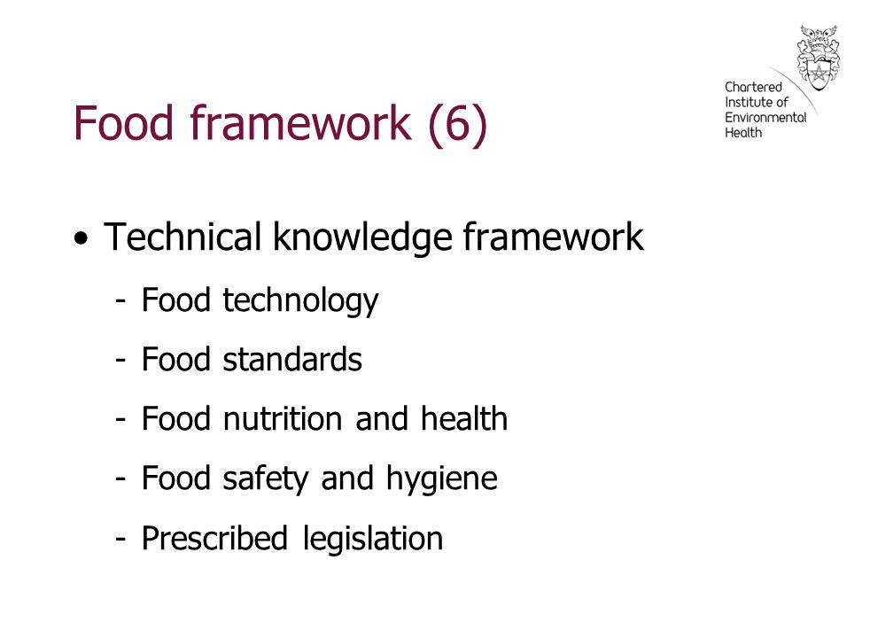 Food framework (6) Technical knowledge framework -Food technology -Food standards -Food nutrition and health -Food safety and hygiene -Prescribed legi