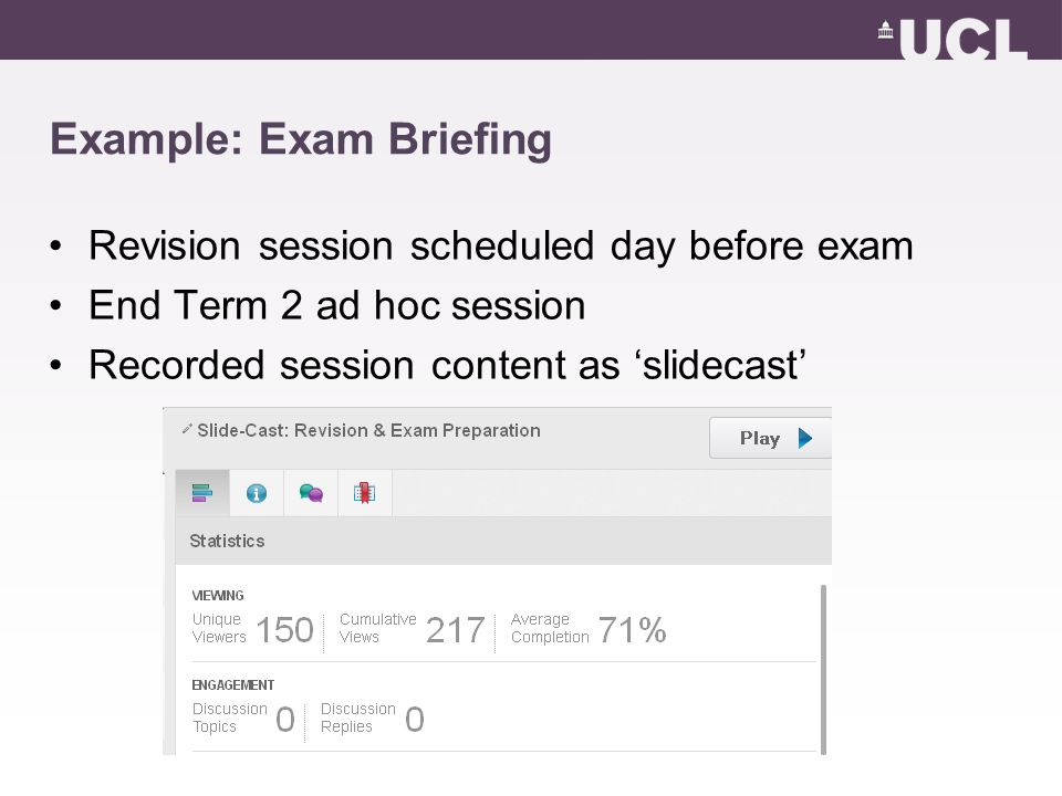 Example: Exam Briefing Revision session scheduled day before exam End Term 2 ad hoc session Recorded session content as 'slidecast'