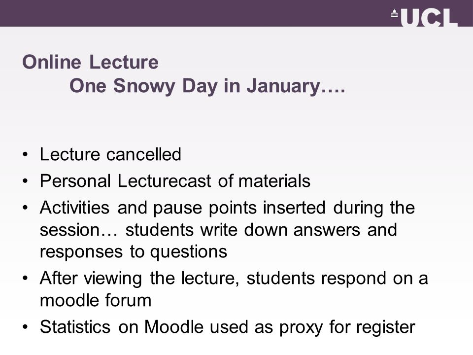 Online Lecture One Snowy Day in January….